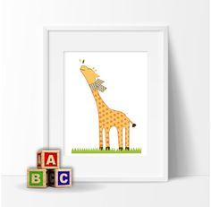 DIGITAL giraffe print, kids decor. Coordinates with Bright Eyed, Bushy Tailed bedding set. For nursery or  children's rooms