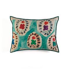 961c281b9 Jaipur Cushion A striking linen cushion with large scale circular and  floral motifs, shown in multi colours on a turquoise ground.