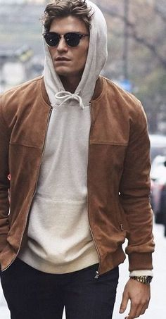 Mens Fashion and Style - Suede bomber with hoody - yes or no? Latest Mens Fashion, Mens Fashion Suits, Trendy Fashion, Fashion 2016, Style Fashion, Fashion Trends, Mens Suits, Fashion For Man, Mens Autumn Fashion