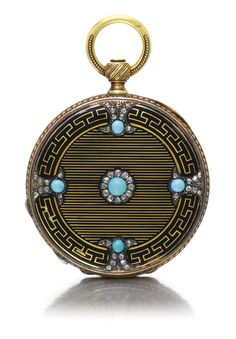 AD LANG & PADOUX, GENÈVE A FINE GOLD, ENAMEL, DIAMOND AND TURQUOISE-SET HUNTING CASE WATCH CIRCA 1850 NO 3572
