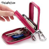 Crocodile Grain Key Wallets Genuine Leather Man Car Key Bag Double Zipper Key Holder Organizer  Ladies Housekeeper  Key Case