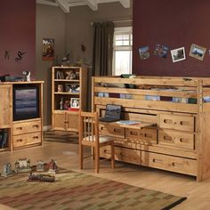 #ThrowbackThursday with the rustic Bunkhouse Collection by Trendwood. This collection is solid and dependable. Crafted of select solid pine with a warm cinnamon finish this group is attractive and built to stand the test of time.
