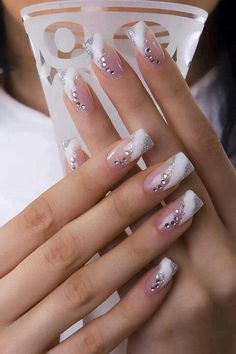 Silver white rhinestone nails