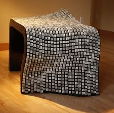 A bench made from old keyboards