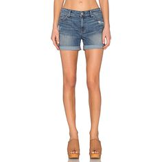 Level 99 Megan Short ($68) ❤ liked on Polyvore featuring shorts, jean shorts, denim shorts, distressed denim shorts, cuffed denim shorts and destroyed jean shorts