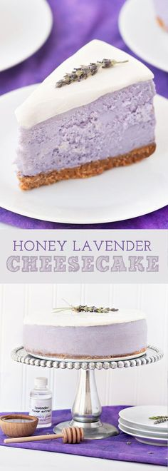 Try the classic cheesecake with this delicious honey-lavender recipe! Try the classic cheesecake with this delicious honey-lavender recipe! Beaux Desserts, Unique Desserts, No Bake Desserts, Just Desserts, Spring Desserts, Purple Desserts, Romantic Desserts, Easter Desserts, Classic Desserts