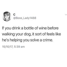 Are you playing detective with white or red tonight? There should be a dog park to drink at but until then wander around the neighborhood tipsy with your fur ball. 🍷 . . . #sandiego #sandiegoca #pacificocean #onlyinpb #pacificbeach #missionbeach #missionbay #pb #oceanbeach #1904 #lajolla #california #92109 #lajollalocals #sandiegoconnection #sdlocals - posted by Pacific Beach, CA ☀️  https://www.instagram.com/pacific.beach. See more post on La Jolla at http://LaJollaLocals.com