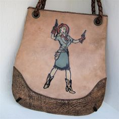 Cowgirl n Pistols Bag Hand Painted Embossed and by karenkell, $450.00
