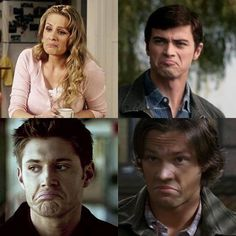 """Supernatural - The Winchesters (Mary, John, Dean and Sam) with their """"Not Bad"""" faces."""