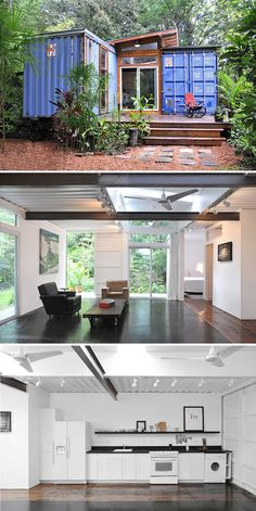 10 Gorgeous Homes That Were Constructed Using Shipping Containers. 10 Gorgeous Shipping Container Homes - The Savannah Woods shipping container home in Savannah, Georgia and was designed by Price Street Projects. Building A Container Home, Container Buildings, Container Home Plans, Shipping Container Home Designs, Shipping Containers, Shipping Container Cabin, Cargo Container Homes, Shipping Container Interior, Tiny Container House