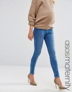 Bild 1 von ASOS Maternity – Lisbon – Enge Jeans in dunkler Jessie-Stonewash