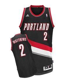 Portland Trail Blazers  2 Wesley Matthews Black Swingman Jersey Adidas Nba 1a9e29d98198