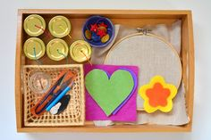 Montessori Sewing Tray Basket at How we Montessori Sewing Practical Life Sew Activity