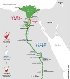 Ancient egypt a map of the nile valley showing the early kingdoms map of ancient egypt gumiabroncs Image collections