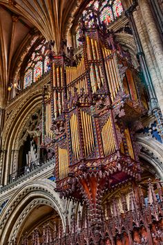 The organ of Ely Cathedral, England. Religious Architecture, Gothic Architecture, Amazing Architecture, Cathedral Basilica, Cathedral Church, Leeds, Bristol, Castle Ruins, Chapelle