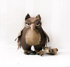owlowl decor handmade owl Home Decor  Ornament owl by AnnaDesigner, $57.00