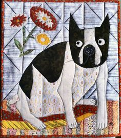 """""""Peggy"""" - custom appliqué art quilt by Allison Hicks. A sweet Boston Terrier commissioned by her person."""