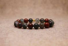 Red & Green African Bloodstone Stretch Bracelet  7 1/2 Inch