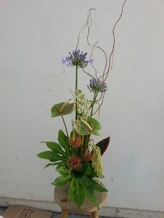 Blue white and orange tropical flower arrangement