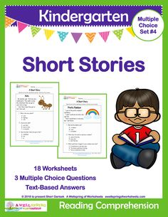 This set of Kindergarten Short Stories includes 18 reading comprehension stories in color and black & white & an answer sheet. Each text contains three to seven sentences, three multiple choice answers, and quotation marks. They cover a wide variety of topics, have a variety of punctuation and somewhat challenging vocabulary. Great for small group instruction! An awesome way to challenge excelling learners.