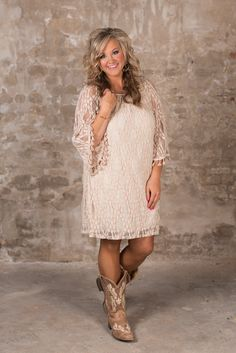 The Teegan Dress is stunning! Featuring a round elasticized neckline, to wear on or off the shoulder and bell sleeves with tassel detail at cuff. The sheer lace overlay is fully lined except for the sleeves. Country Western Dresses, Country Style Wedding Dresses, Country Girls Outfits, Dresses With Cowboy Boots, Cowgirl Dresses, Cowgirl Clothing, Cowgirl Fashion, Western Dress With Boots, Cowgirl Outfits