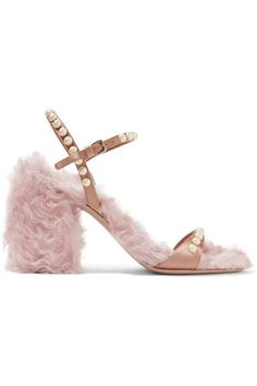 Heel measures approximately 85mm/ 3.5 inches Blush silk, baby-pink faux shearling Buckle-fastening ankle strap Designer color: Nude Made in Italy