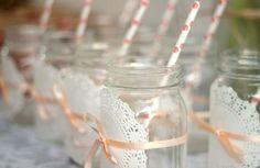 Mason Jars, wedding decor, casamento, decoraçao, cute, love, doily, retro, casamento, DIY wedding.