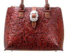 Montana West~Trinity Ranch~Floral Tooled Design Leather~Buckle Handbag Tote~BRN #MontanaWestTrinityRanch #SatchelHandbagTote