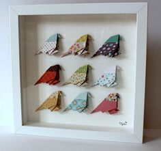 Shop Cadre Oiseau Origami from Tipilou in Kids, Gift sets, available on Tictail from Origami Ball, Easy Cat Origami, Cute Origami, Useful Origami, Origami Ideas, Origami Folding, Origami Wall Art, Origami Quilt, Origami Envelope