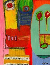 SNAKE & JAKE Hoke Outsider RAW Folk Abstract Art Brut Original Painting