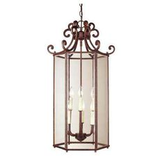 6-Light Walnut Patina Foyer Pendant with Clear Beveled Glass