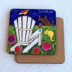 Sous-verre • La chaise adirondak - reproductions des toiles d'isabelle Malo Illustrations, Coasters, Toile, Chair, Bricolage, Illustration, Coaster, Illustrators