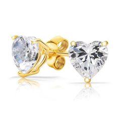 Bling Jewelry Classic Gold Vermeil CZ Heart Stud Earrings 7mm