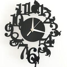 reloj de pared digital Clock Mural Lovely Cartoon Black Cats Clock Acrylic Crystal Mirror Wall Clock Melting Clock Home Decor