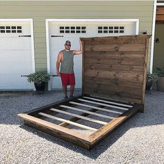 (Ain't he cute too? - Before After DIY Diy King Headboard, Shiplap Headboard, Headboards For Beds, Headboard Ideas, Bedroom Ideas, Diy Platform Bed Frame, Diy Bed Frame, Home Decor Furniture, Furniture Projects