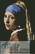 Mini Girl with a Pearl Earring Cross Stitch Pattern http://www.artecyshop.com/index.php?main_page=product_info&cPath=11_15&products_id=885