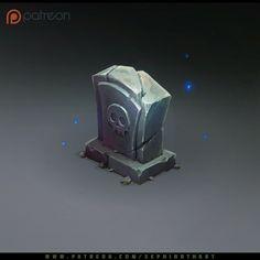 Isometric Graveyard Stone, Sephiroth Art on ArtStation at https://www.artstation.com/artwork/YJd3K
