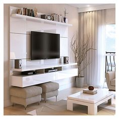 Create a stylish theatrical vibe for your room with this Manhattan Comfort City Floating Wall Theater Entertainment Center in Maple Cream and Off White. Shop Manhattan Comfort City Floating Wall Theater Entertainment Center with great price, The Classy Ho Tv Cabinet Design, Tv Wall Design, House Design, Basement Design Layout, Living Room Tv, Living Room Furniture, Dining Room, Tv On Wall Ideas Living Room, Living Area