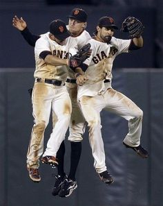 San Francisco Giants left fielder Gregor Blanco, right fielder Hunter Pence and center fielder Angel Pagan celebrate a win over the Colorado Rockies during a baseball game on Wednesday, Sept. Giants Team, My Giants, Giants Baseball, Baseball Players, New York Giants, Giants Players, 2012 World Series, Hunter Pence, Dodgers Fan
