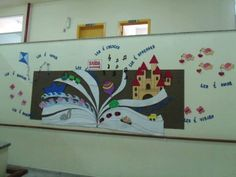 Mural Dia do Livro School Displays, Library Displays, Classroom Displays, Classroom Decor, Arctic Decorations, School Decorations, Classroom Board, School Bulletin Boards, Library Wall