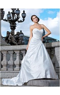 A-line Sweetheart Strapless Satin Wedding Dress