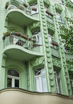 Art Nouveau to Art Deco transition: Balconies in Berlin Beautiful Architecture, Beautiful Buildings, Architecture Details, Green Architecture, Art Nouveau, Ludwig Mies Van Der Rohe, Green Building, Art Deco Fashion, Shades Of Green