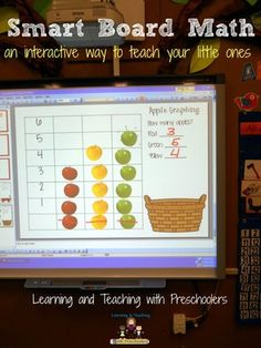 Apple Graphing for the Smart Board A fun and interactive way to get your little ones graphing, sorting and counting. Best of all it's free. Smart Board Activities, Smart Board Lessons, Math Activities, Preschool Math, Kindergarten Classroom, Teaching Math, Music Classroom, Teaching Spanish, Science Experience