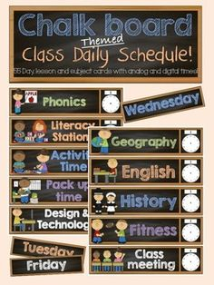 Brighten up your classroom with this cute and colorful chalkboard themed classroom Day schedule pack! Using a class schedule is a great visual way to help students have an understanding of what their day will look like. Each card also has an analog and digital template for you to fill in the times the session will start!