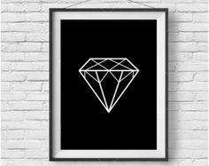 Diamante de impresión arte minimalista geométrico por Wallzilla