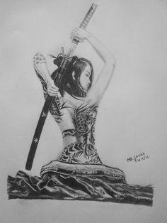 Girl & Katana Drawing