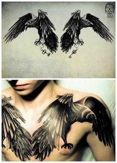 Resultado de imagem para raven tattoo chest