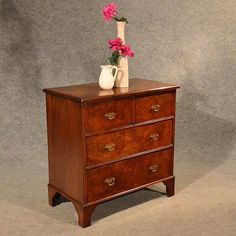 Antique Small Chest Of Drawers Quality Burr Walnut - Antiques Atlas