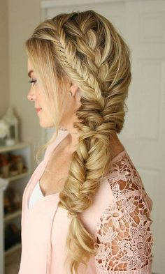 75 Trendy Long Wedding & Prom Hairstyles to Try in 2018 – Damen Haare Prom Hairstyles For Long Hair, Side Braid Hairstyles, Braided Hairstyles For Wedding, Trendy Hairstyles, Short Haircuts, Hairstyle Ideas, Hairstyles 2016, Bridal Hairstyles, Side Braids For Long Hair