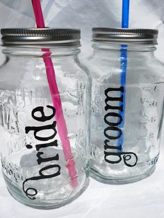 Bride and Groom Mason Jar Drinks Wedding by bittersweetlemonade, $22.50